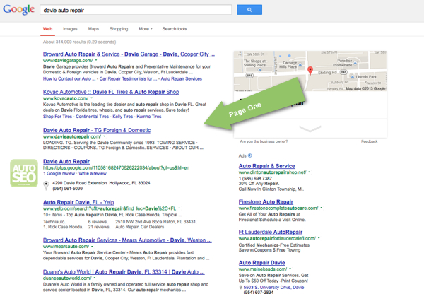 Auto Repair SEO Case Study - Davie - Page One