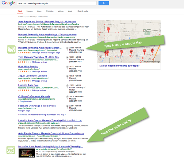 Auto Repair SEO Case Study - Macomb Township - Page One