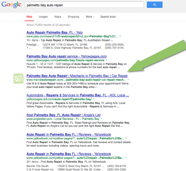 Auto Repair SEO Case Study - Palmetto Bay - Page One